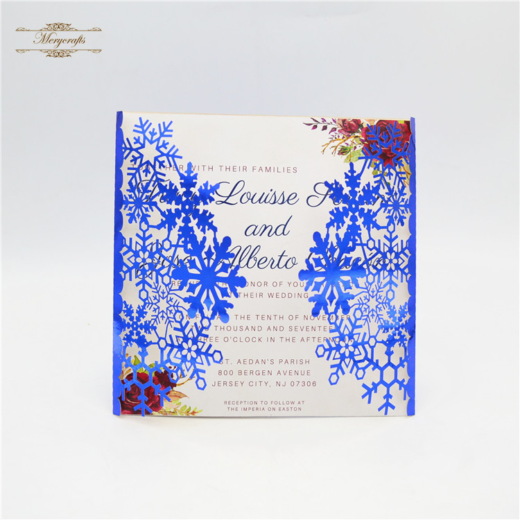 Royal blue snowflakes laser cut wedding invitation cards