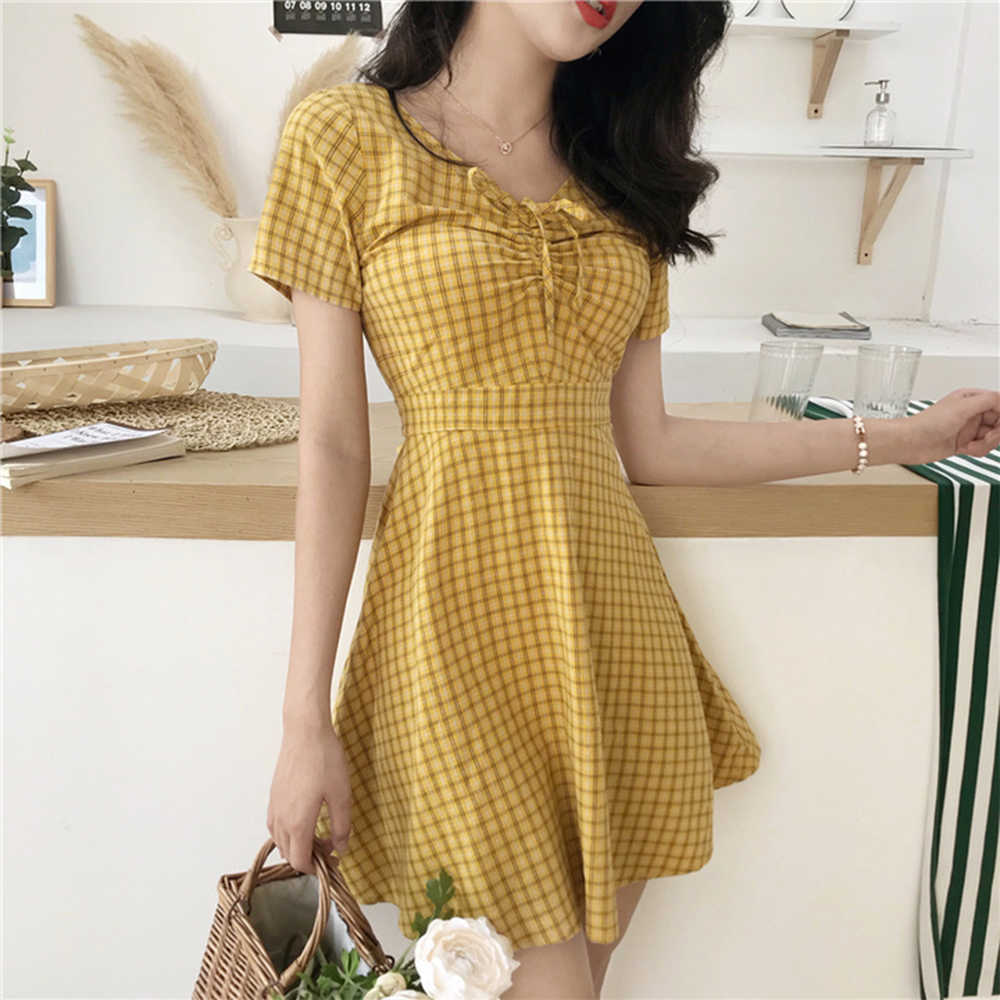Желтое платье клетчатое платье трапециевидной формы с v-образным вырезом розовое желтое пляжное клетчатое платье Kawaii Harajuku Vestidos De Fiesta Cortos бандаж