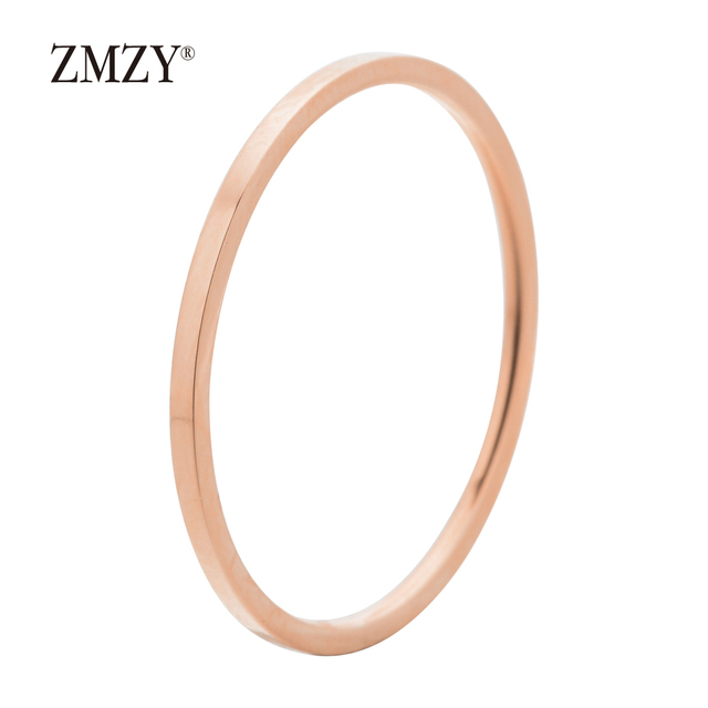 ZMZY Round Rings For Women Thin Stainless Steel Wedding Ring Simplicity Fashion Jewelry Wholesale bijoux 1mm 6