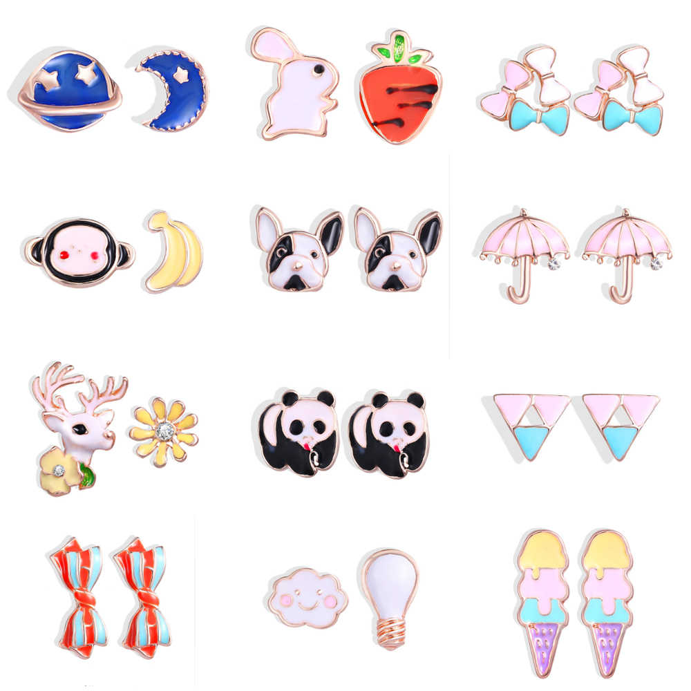 AY Cute Korea New 2019 Acetic Acid Stud Earrings Cartoon Animals Ice Cream Rabbit Umbrella Puppy Panda Earrings Fashion Jewelry