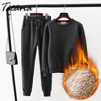 Two Piece Set Women Top And Pants Female Winter Suit Cashmere Pants Velvet Female Warm Winter Sweatshirt 2 piece Suits For Women
