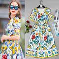 Nieuwe zomer stijl prachtige mode korte mouwen ronde kraag reparatie dunne jurk vrouwen jurk