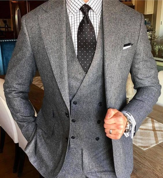 2018 Tailor Made Smoking Grey Tweed Men Suit Slim Fit 3 Piece Groom