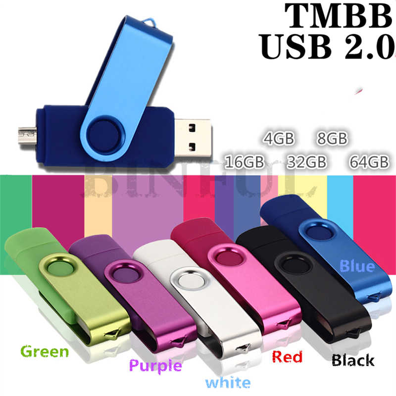 Movimentação binful, 7 cores otg usb flash driver 2.0 memory stick metal 32gb 64g 128g 16g mobile caneta da movimentação do android do telefone celular u disco