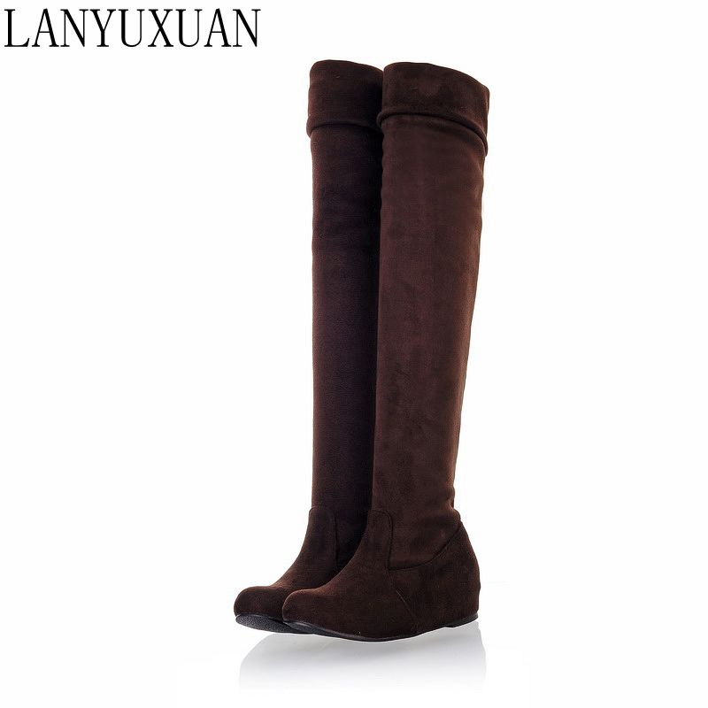 LANYUXUAN Big Size 34-47 autumn Winter Warm Shoes Woman Sexy Leopard Casual Round toe Flat heels Over the knee Women Boots 865 enmayer sexy red shoes woman high heels bowties charms size 34 47 zippers round toe winter over the knee boots platform shoes page 6