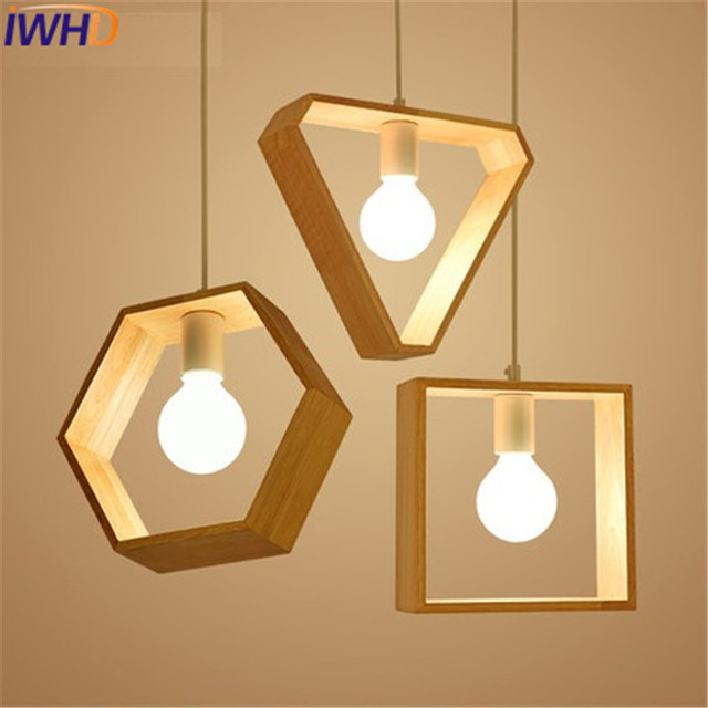 Iwhd jap n simple madera droplight moderno led l mparas - Lamparas comedor led ...