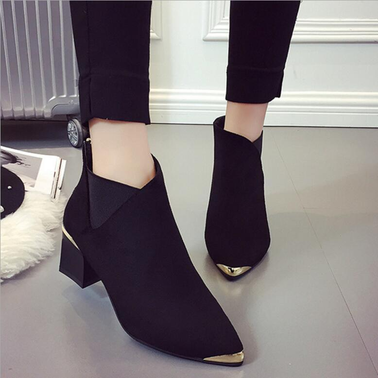 autumn and winter fashion plus size women's boots with heel shoes platform ankle boots sexy pointed metal Martin boots