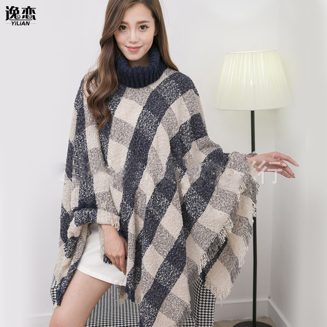 YI LIAN Brand New women Knitted wool Poncho High collar plaid shawls wrap double side winter warm Coat cape YL-70089