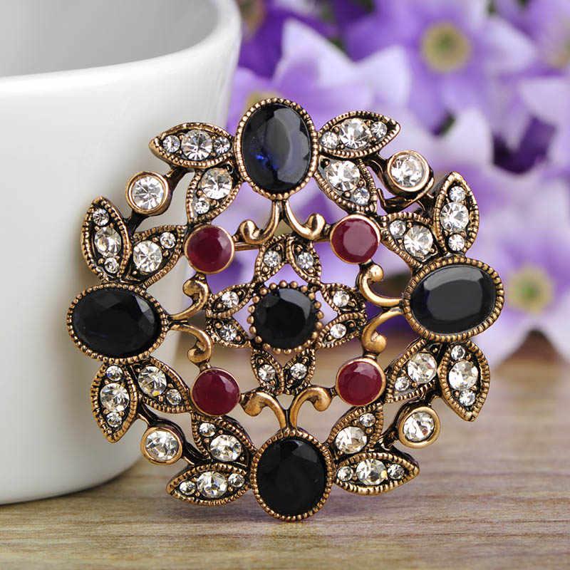 Blucome Clearance Turki Khusus Korsase Bunga Merah Bentuk Kristal Resin Pin Wanita Sweater Topi Vintage Aksesoris Perhiasan Hadiah