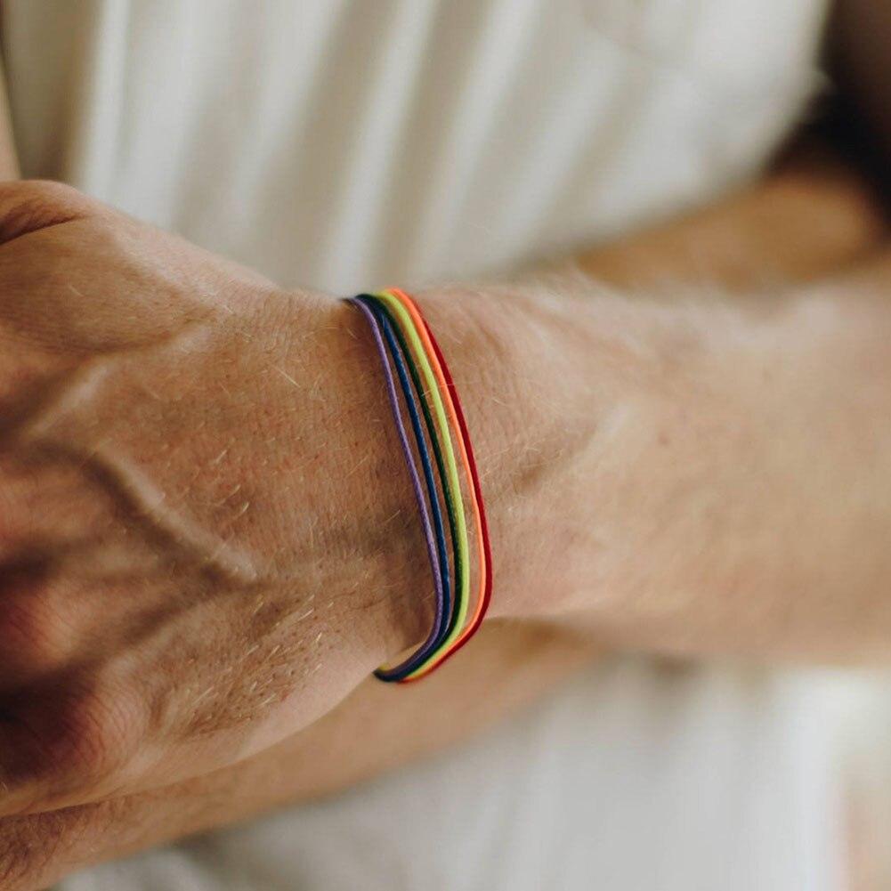 2019 Fashion Pu Leather Bracelet Women Men Lover Gay Pride Rainbow