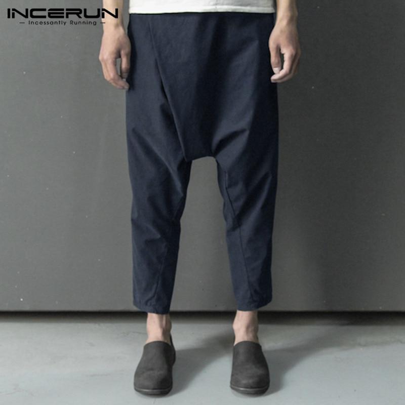 2019 Brand Mens Pants Vintage Cotton Hip-hop Button Streetwear Drop Crotch Harem Pants Men Joggers Loose Solid Trousers INCERUN