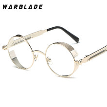 Steampunk Goggles Round Eyeglasses Clear Lens Gold Glasses Frames Men Unique Vintage Circle Glasses Frame Male Eyewear Oculos(China)