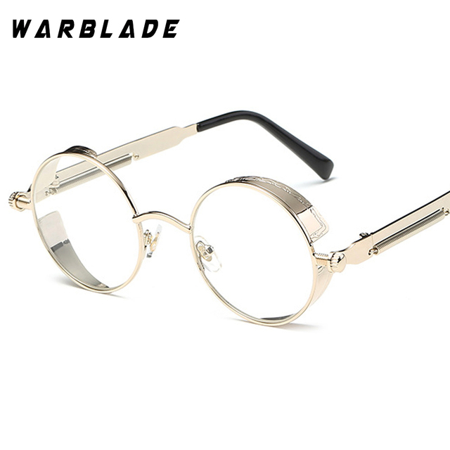 306934f28c4 Steampunk Goggles Round Eyeglasses Clear Lens Gold Glasses Frames Men  Unique Vintage Circle Glasses Frame Male Eyewear Oculos