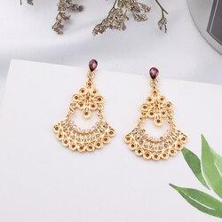 MENGJIQIAO 2019 New Baroque Crystal Vintage Metal Flower Drop Earrings Women Fashion Party Jewelry Rhinestone Statement Gifts