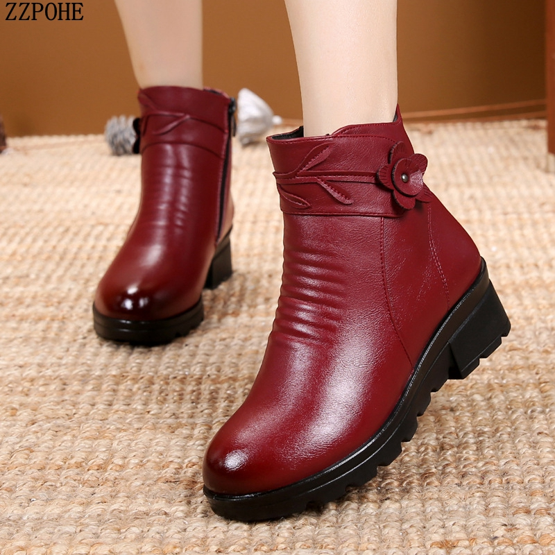 ZZPOHE New Fashion Leather Women Ankle Boots Winter Waterproof Warm Woman Snow Boots Female Non-Slip Casual Shoes Ladies Boots woman snow boots women winter shoes women s ankle boots fashion casual flat warm plush shoes female ladies 2017 new or400880
