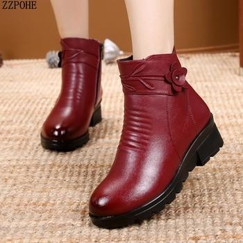 619b0f469f2a7d Nuovo Cuoio di Modo Delle Donne Della Caviglia Stivali Invernali—Spedizione  gratuita