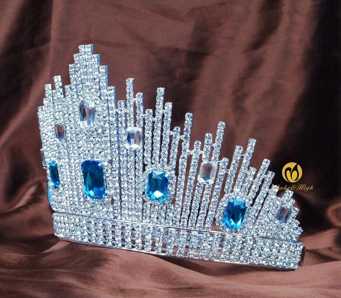 Mavi Kristal Miss Universe Səhifəli Tiaras Böyük Taclar Clear - Moda zərgərlik - Fotoqrafiya 2