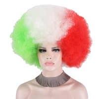 Duży kręcone włosy syntetyczne kibice piłki nożnej Anxin Afro Clown Party Cosplay dorosłych Halloween Cosplay Bob zielony biały czerwony peruki Anime