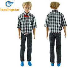 LeadingStar High Quality Handmade Casual Plaid Grid Clothes Jacket Pants Outfits For Ken Doll Hot Selling