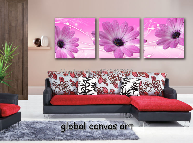 Framed 3 panel Wall Art Modern Home Decoration picture flowing light ...