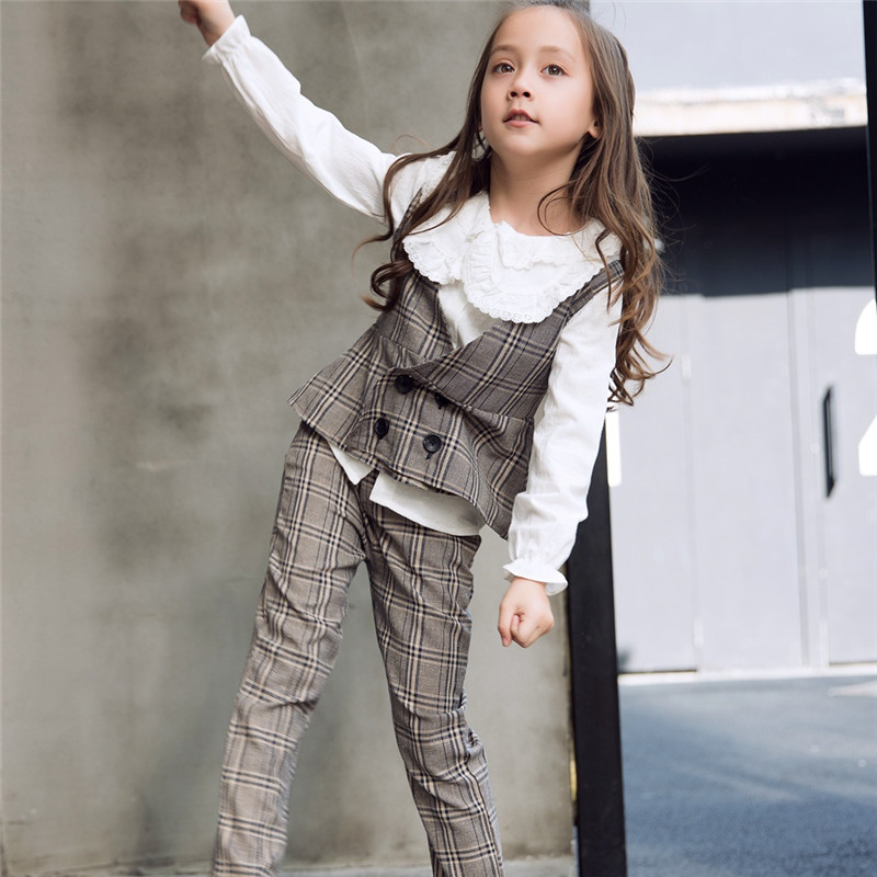 Girls Clothing Suit Fashion Korean Kids Clothes Set Girl Teenage Girls Clothing Set Teen Formal Outfits Plaid Tops Pants Tale Clothing Sets Aliexpress