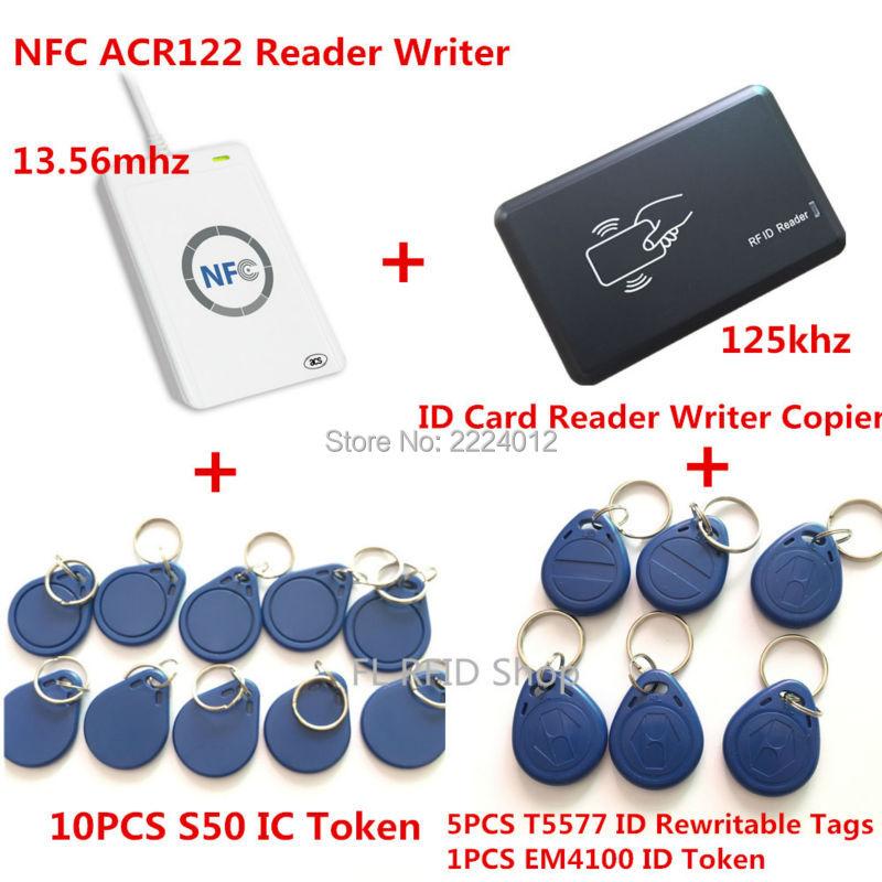 ФОТО NFC ACR122U 13.56MHZ RFID CARD and 125KHZ ID Card Reader & Writer Programmer crack clone M1 EM4100 RFID Card UID Changable T5577