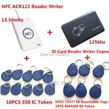 NFC ACR122U 13.56 MHZ RFID CARTE et 125 KHZ ID Lecteur de Carte et écrivain Programmeur fissure clone M1 EM4100 RFID Carte UID Changeable T5577