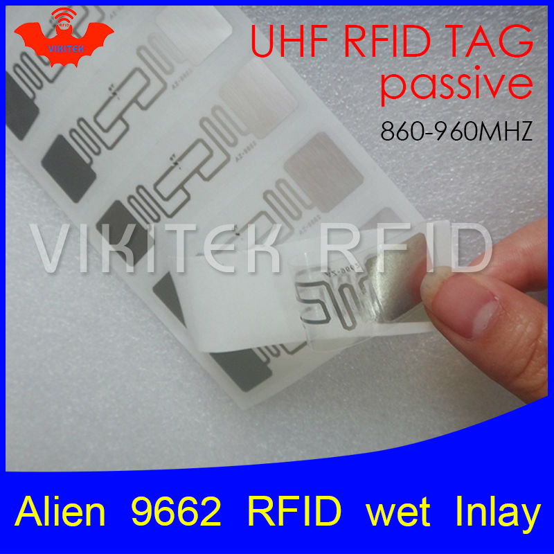 UHF RFID tag sticker Alien 9662 wet inlay 915mhz 900 868mhz 860-960MHZ Higgs3 EPCC1G2 6C smart adhensive passive RFID tags label 860 960mhz long range passive rfid uhf rfid tag for logistic management
