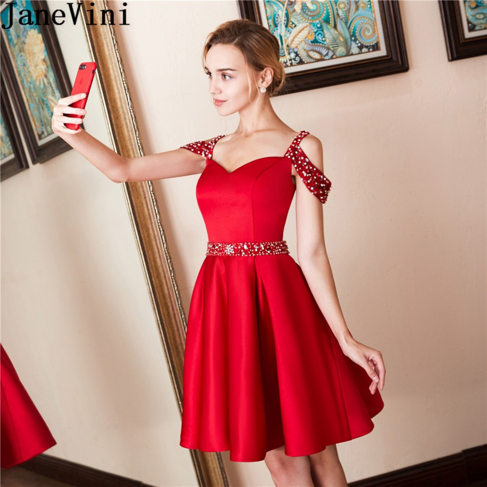 JaneVini Red Short Formal   Dresses   Sparkly Beaded   Cocktail     Dress   Crystal Satin Skirt Women Party Gowns 2019 abito   cocktail   donna