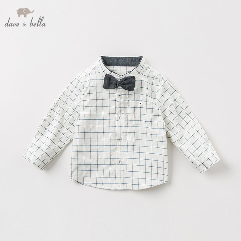 DB11790 dave bella baby boys autumn infant blue white plaid shirt toddler top children tees long sleeve clothes