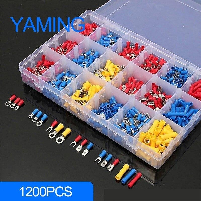 1200 pcs com caixa Assorted Conjunto Kits Elétricos Isolados Terminais de Cravar Conectores de Fiação Final Pin Cabo Rápida Masculino/Feminino Kit