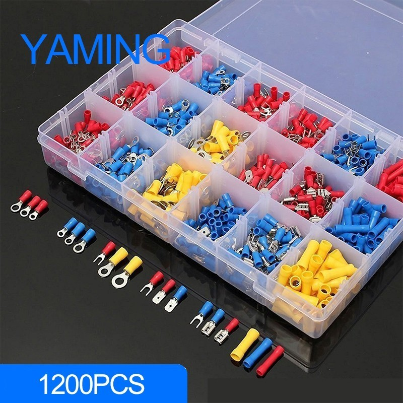 1200pcs with box Assorted Crimp Terminals Set Kits Insulated Electrical Wiring Connectors Cord Pin End Quick Male/Female Kit 2120pcs 22 5awg copper crimp cable connectors insulated cord pin end wire terminals kit set with plastic box