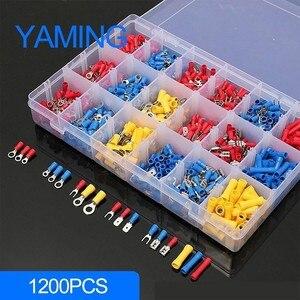 Image 1 - Ensemble de bornes à sertir, Kit de bornes mâle/femelle, 1200 pièces avec boîte, connecteurs de câblage électrique isolés