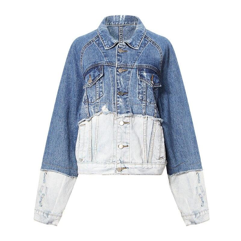 Survêtement Rue Patchwork Veste pu Jean Vintage Femmes Mode Bleu De Streetwear Taille 2 Moruancle Libre Déchiré Denim Ciel Couleur Salut Affligée nZA1vgx
