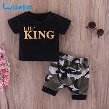 Wisefin pasgeboren baby jongens kleding set zomer zuigelingen shirts peuter kleding zwart tops + camo pant 2 stks pasgeboren baby outfits
