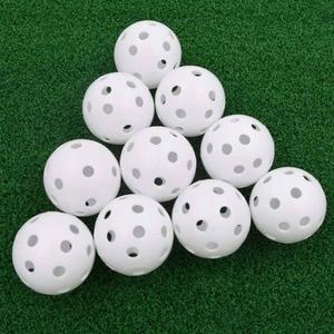 Image 1 - 20pcs/lot 41mm Golf Training Balls Plastic Airflow Hollow with Hole Golf Balls Outdoor Golf Practice Balls