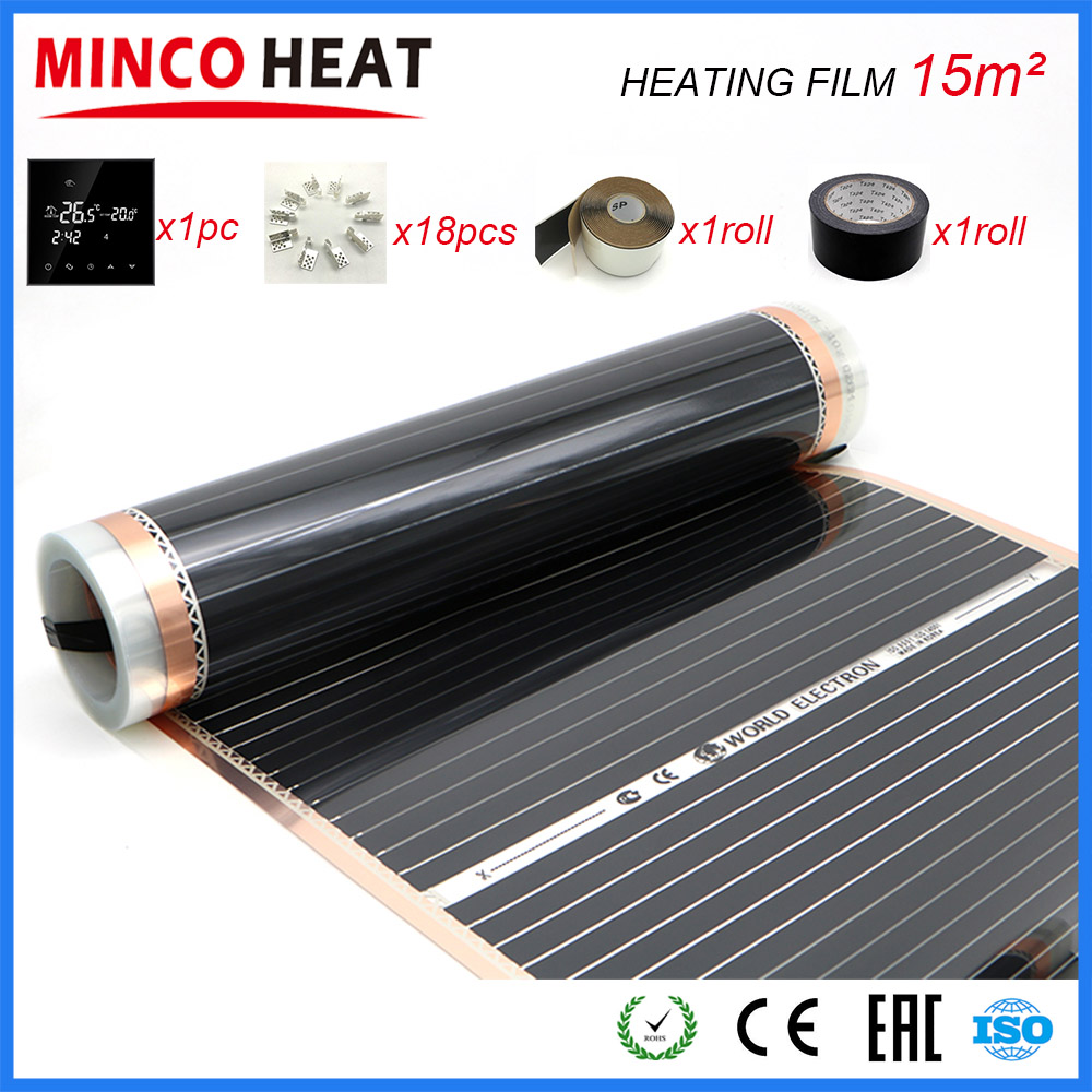 15M2 50CM 80CM 100CM Far Infrared Under Floor Heating Warm Floor Thermosatat Heating Film Sets with