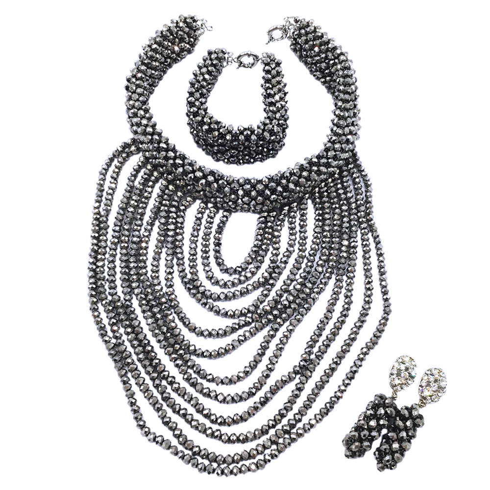 Fashion Silver Crystal Beads Necklace Earrings Bracelet Nigerian Wedding Beads African Jewelry Set for Women DDK015 fashion white crystal beads necklace earrings bracelet nigerian wedding beads african jewelry set for women ddk014