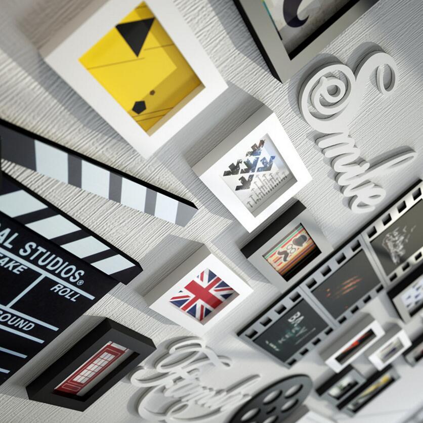 SUFEILEMulti rama nowoczesny styl ramki do zdjęć kina domowego dekoracji prostokąt zdjęcie ramka do obrazu zamontowane drewniane ramka do obrazu zestaw w Rama od Dom i ogród na  Grupa 3