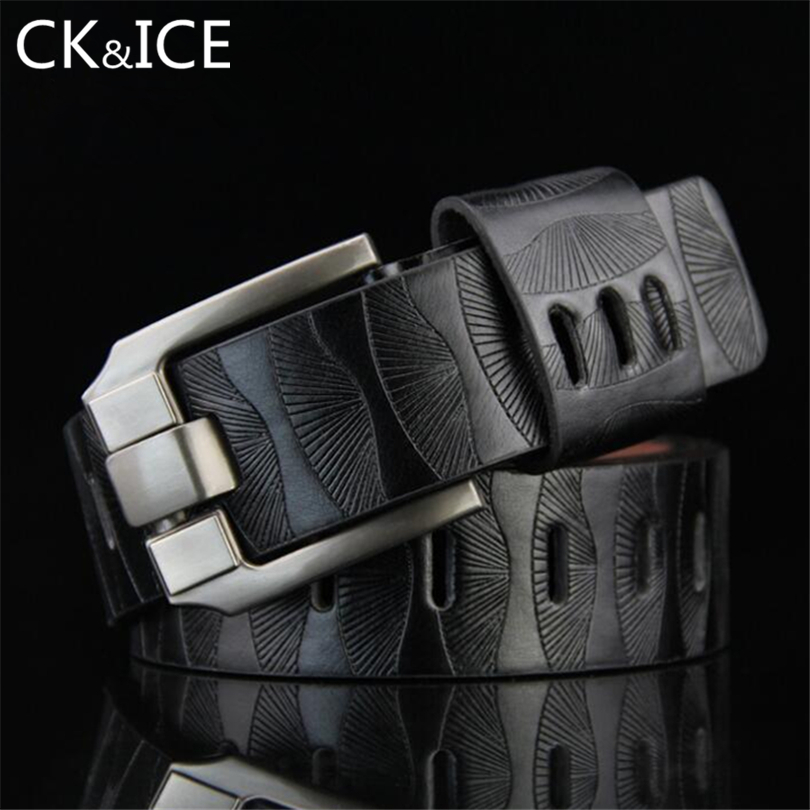 CK&ICE Printing Designers Luxury Fashion Vintage Male Strap Brand Genuine Leather Belts For Men Punk Cowskin For Jeans Cintos
