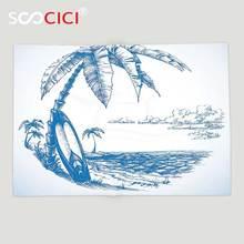 Пользовательские мягкого флиса Пледы Одеяло Surf современного декора скетч иллюстрация Гавайских пляжные с доски для серфинга Palm Tree