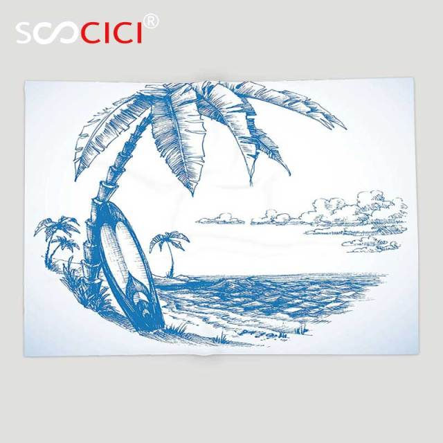 Kustom Lembut Fleece Throw Blanket Sketsa Ilustrasi Hawaiian Pantai