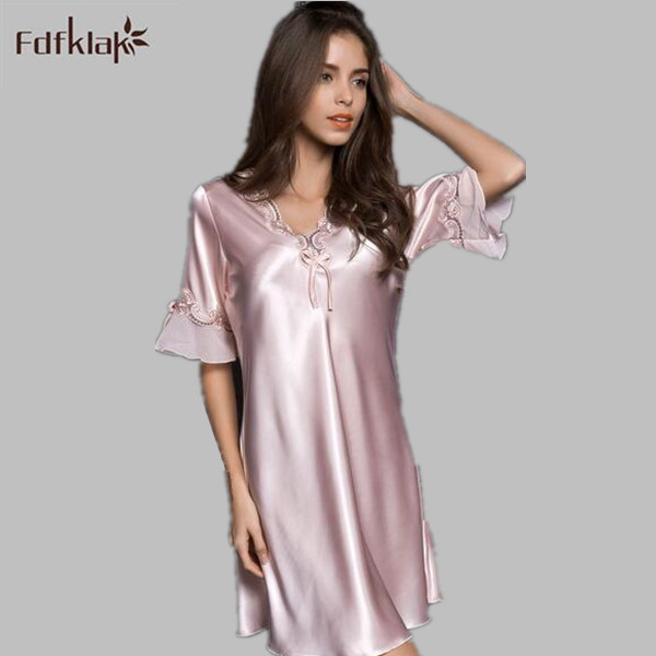 Fdfklak Summer Ladies Sleepwear Nighties Sexy Silk Nightgowns Female Plus Size  Women Nightdress Negligees Large Size M-XXL E0851 5c2615cb1
