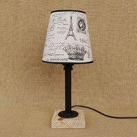 Modern vintage art deco table lamp bedside steam punk fabric lampshade E27 / E26 LED lights for bedroom workroom workshop office