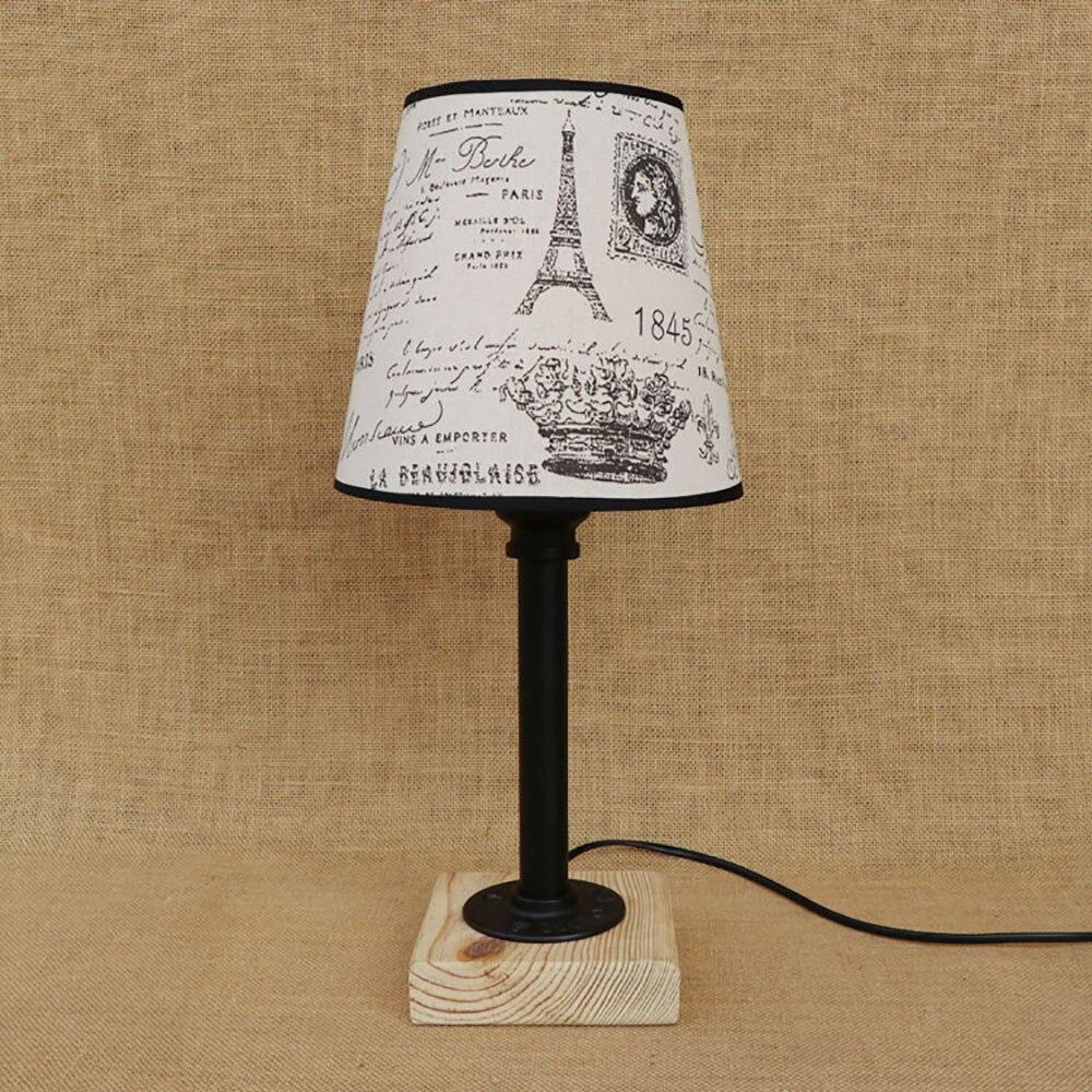 Moderne Vintage Art Deco Lampe De Table Chevet Vapeur Punk Tissu