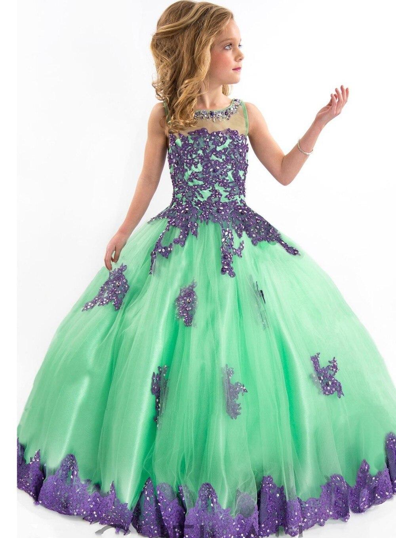 Новое поступление г. Праздничное платье для девочки платье фиолетовое и зеленое вечернее платье аппликация длина до пола платье с цветочным узором для девочек