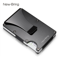 NEWBRING Metal Mini Money Clip Brand Fashion Black White Credit Card ID Holder With RFIT Anti