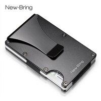 NewBring Metal Mini Money Clip Brand Fashion Black White Credit Card ID Holder With RFID Anti-chief Wallet Men