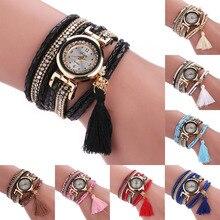 Women's watch Fashion relogio feminino Leopard Wrap Braided Faux Leather Rhinestone Quartz Bracelet Wrist Watch