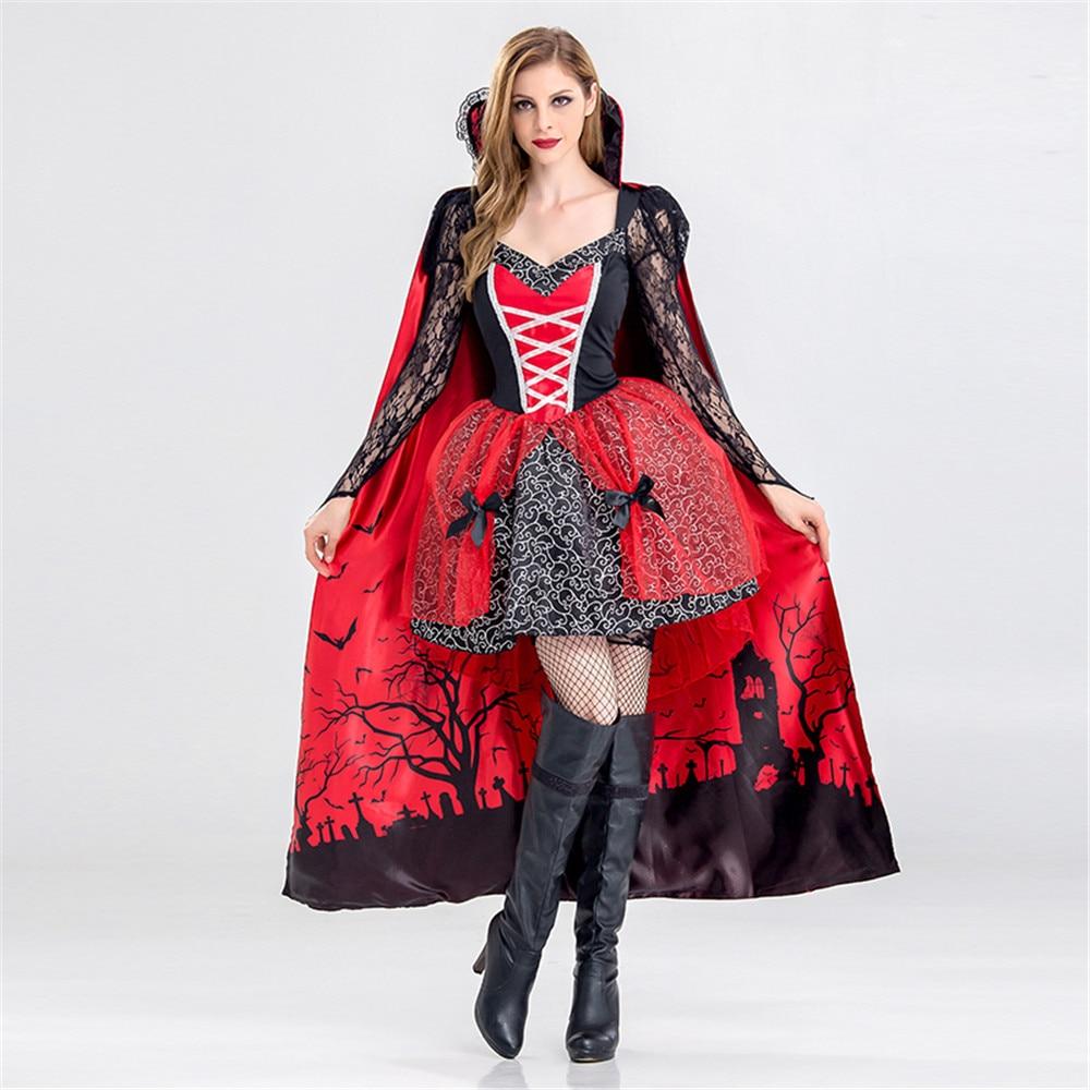 Deluxe Halloween Sexy Adulte Femmes Vampire Costumes Victorienne Vamp Fantaisie Partie Robe Sorcière Femelle Costumes Zombie Uniformes